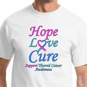 Hope Love Cure Thyroid Cancer Awareness Shirts