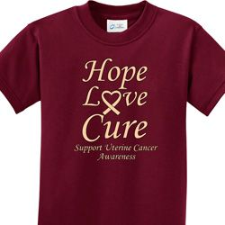 Hope Love Cure Uterine Cancer Awareness Kids Shirts
