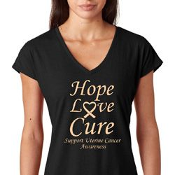 Hope Love Cure Uterine Cancer Awareness Ladies Shirts