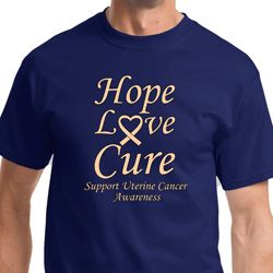 Hope Love Cure Uterine Cancer Awareness Mens Shirts