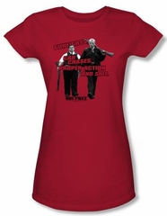 Hot Fuzz Juniors T-shirt Movie Days Work Red Tee Shirt
