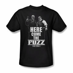 Hot Fuzz Shirt Here Come The Fuzz Adult Black Tee T-Shirt