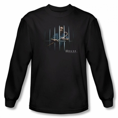 House Shirt Behind Bars Long Sleeve Black Tee T-Shirt