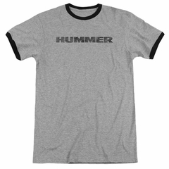 Hummer Distressed Logo Athletic Heather Ringer Shirt