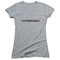 Hummer Juniors V Neck Shirt Distressed Logo Athletic Heather T-Shirt