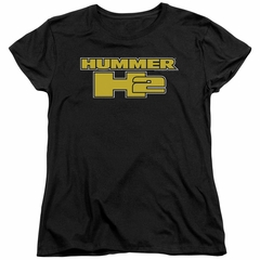 Hummer Womens Shirt H2 Block Logo Black T-Shirt
