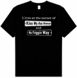 I LIVE AT THE CORNER Funny Adult Novelty T-shirt Tee Shirt
