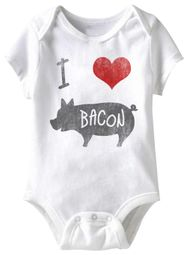 I Love Bacon Funny Baby Romper White Infant Babies Creeper