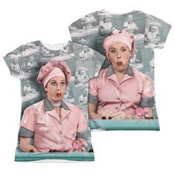 I Love Lucy Chocolate Belt Sublimation Juniors Shirt Front/Back Print