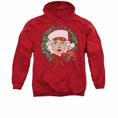 I Love Lucy Hoodie Sweatshirt Wreath Red Adult Hoody Sweat Shirt