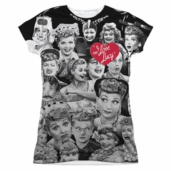 I Love Lucy Lucy/Faces Sublimation Juniors Shirt
