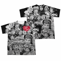 I Love Lucy Lucy/Faces Sublimation Kids Shirt Front/Back Print