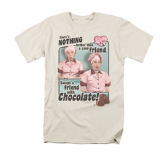 I Love Lucy Shirt Friends And Chocolate Adult Cream Tee T-Shirt