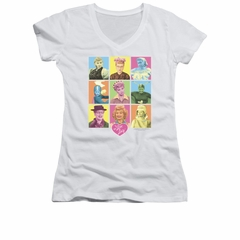 I Love Lucy Shirt Juniors V Neck So Many Faces White Tee T-Shirt