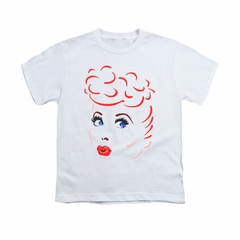 I Love Lucy Shirt Kids Lines Face White Youth Tee T-Shirt