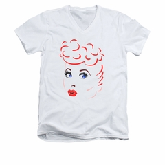 I Love Lucy Shirt Lines Face Slim Fit V Neck White Tee T-Shirt