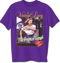 I Love Lucy T-shirt - Grapes Of Laugh Adult Purple Tee