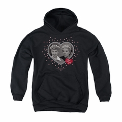 I Love Lucy Youth Hoodie Hearts And Dots Black Kids Hoody
