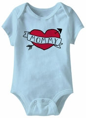 I Love Mom Tattoo Funny Baby Romper Blue Infant Babies Creeper
