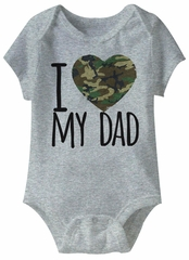 I Love My Army Dad Funny Baby Romper Grey Infant Babies Creeper