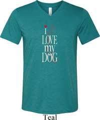 I Love My Dog Mens Tri Blend V-neck Shirt