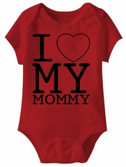 I Love My Mommy Funny Baby Romper Red Infant Babies Creeper