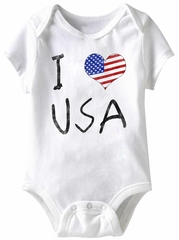 I love USA Funny Baby Romper White Infant Babies Creeper