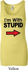 I'm With Stupid Black Print Ladies Longer Length Tank Top
