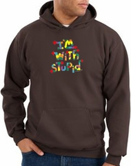 I'm With Stupid Hoodie Sweatshirt - Funny Two Ways Adult Brown Hoody