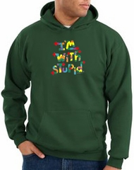 I'm With Stupid Hoodie Sweatshirt - Funny Two Ways Dark Green Hoody