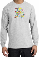 I'm With Stupid Long Sleeve Shirt - Funny Two Ways Adult Ash T-Shirt