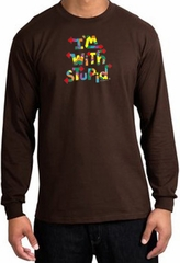 I'm With Stupid Long Sleeve Shirt - Funny Two Ways Adult Brown T-Shirt