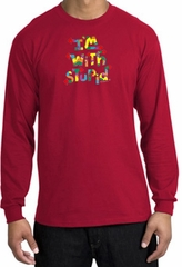 I'm With Stupid Long Sleeve Shirt - Funny Two Ways Adult Red T-Shirt