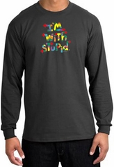 I'm With Stupid Long Sleeve Shirt - Funny Two Ways Charcoal T-Shirt