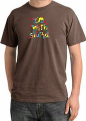 I'm With Stupid Pigment Dyed T-Shirt - Funny Two Ways Chestnut Tee