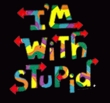 I'm With Stupid Raglan Shirt - Funny Two Ways Adult White/Red Tee
