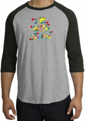 I'm With Stupid Raglan Shirt - Funny Two Ways Heather Grey/Black Tee