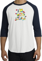 I'm With Stupid Raglan Shirt - Funny Two Ways White/Navy Tee