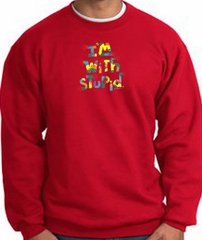 I'm With Stupid Sweatshirt - Funny Two Ways Adult Red Sweat Shirt