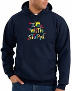 I'm With Stupid Sweatshirts - Funny Two Ways Adult Sweat Shirts