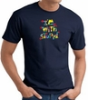 I'm With Stupid T-Shirt - Funny Two Ways Adult Navy Tee Shirt