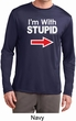 I'm With Stupid White Print Mens Dry Wicking Long Sleeve Shirt