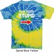 I'm With Stupid White Print Tie Dye Shirt