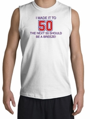 I MADE IT TO 50 Funny Tank Top Sleeveless Muscle Shirt Shooter - White