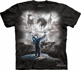 Indian Shirt Tie Dye Horses Summoning the Storm T-shirt Adult Tee