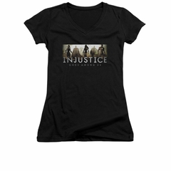 Injustice Gods Among Us Shirt Juniors V Neck Logo Black T-Shirt