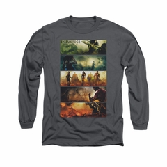 Injustice Gods Among Us Shirt Panels Long Sleeve Charcoal Tee T-Shirt
