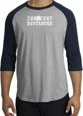 Innocent Bystander Shirt White Print Raglan Shirt Grey/Navy