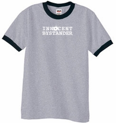 Innocent Bystander Shirt White Print Ringer Shirt Heather Grey/Black