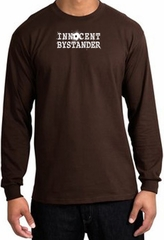 INNOCENT BYSTANDER WHITE Funny Adult Long Sleeve T-Shirt - Brown